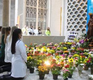 Profissionais da saúde fazem coroa à Nossa Senhora