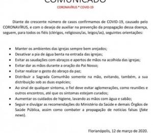 Paróquia São Luís Gonzaga emite nota sobre o Coronavírus